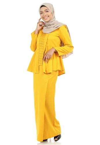 Buy Marzia Kebaya Peplum with Pleats from Ashura in Yellow only 129.9