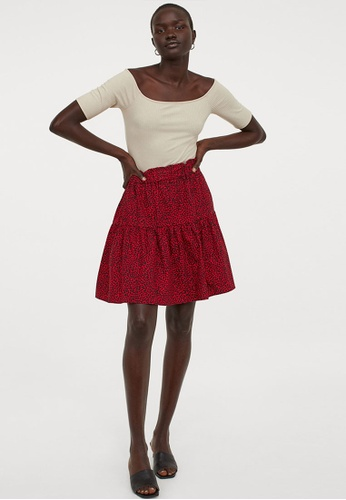 H&M red and multi Flared Cotton Skirt 980C1AAC8E947DGS_1