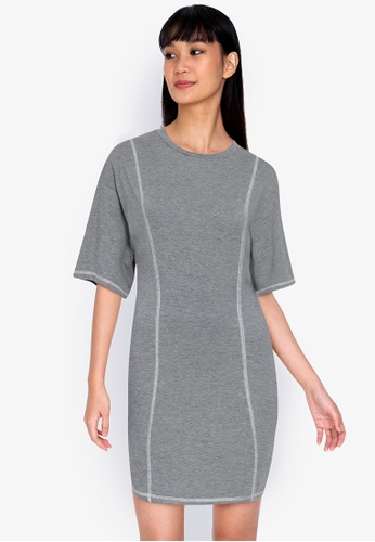 ZALORA BASICS grey Contrast Jersey Sheath Dress B25DEAA33C1C4CGS_1