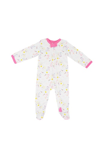Baby Lovett white Rainbow Unicorns Two-Way Zipper Suit 896EEKA2D6F497GS_1