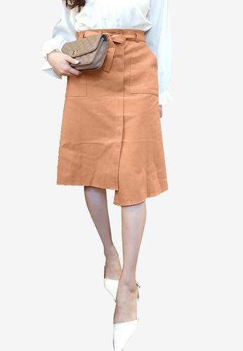 Tokichoi orange Tie Waist Asymmetric Midi Skirt BF870AA3C54285GS_1