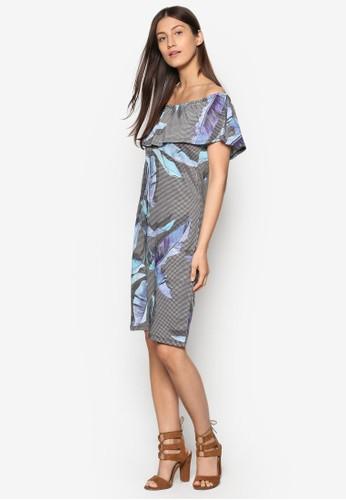 露肩荷葉層次印花連身裙zalora 內衣, 服飾, 洋裝