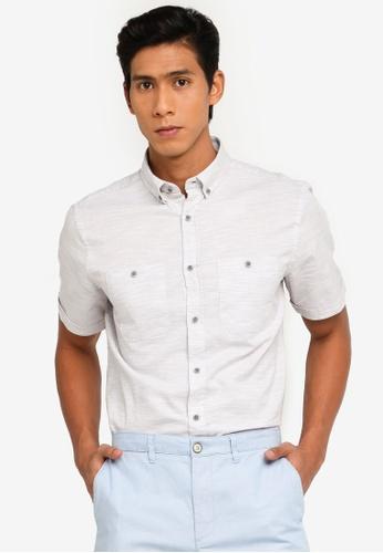 LC Waikiki grey Regular Fit Short Sleeve Textured Shirt DC97EAA1284ED4GS_1