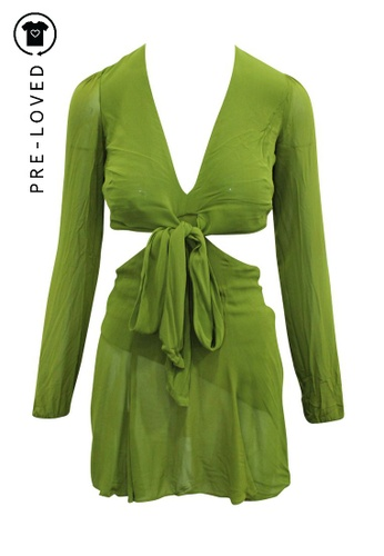 Reformation green Pre-Loved reformation Olive Green Playsuit with Cutouts and Tie FD946AA819C32CGS_1