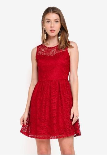ZALORA red Lace Fit & Flare Dress E8B67AA8BE25C7GS_1