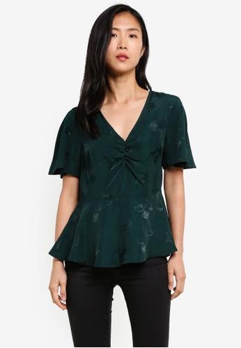 Dorothy Perkins green Green Jacquard Tea Top DO816AA0S79WMY_1