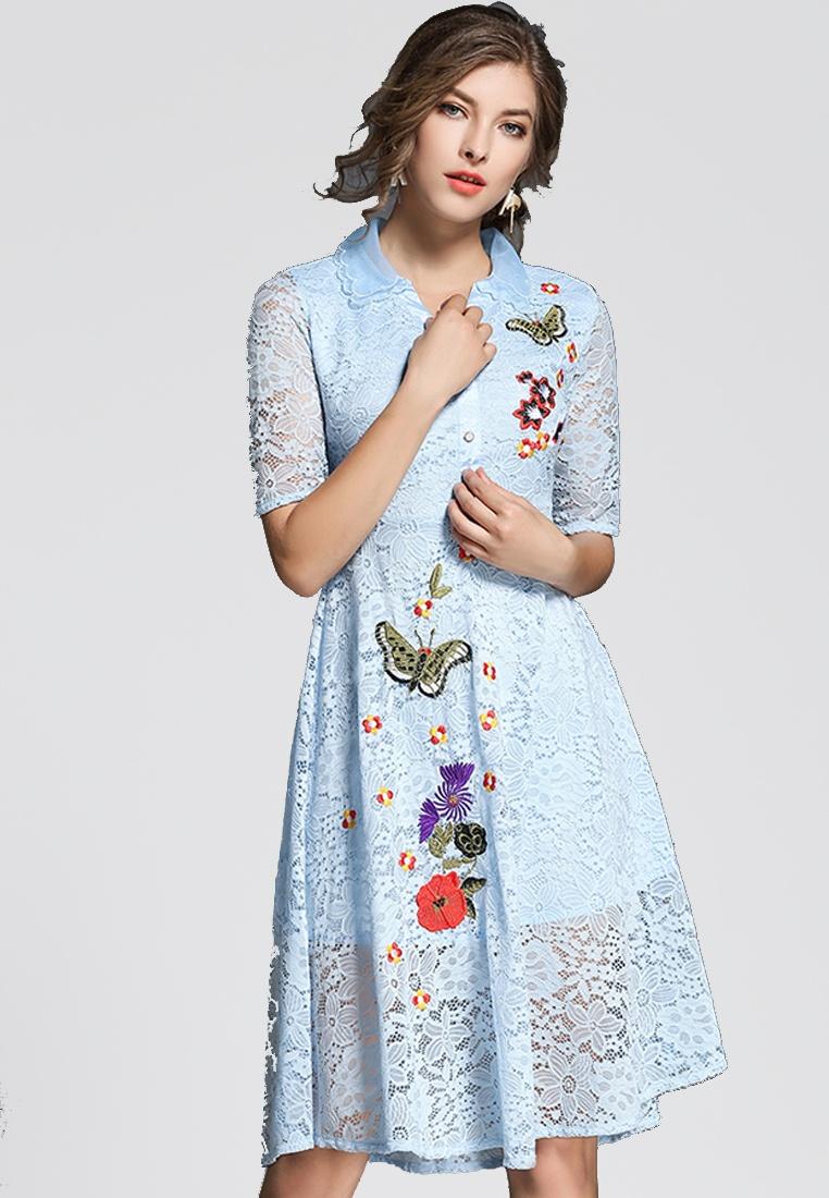 Lace NBRAND Blue Embroidery Butterfly Dress rwq1Xyrg