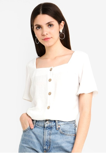 093a609847512 Buy Dorothy Perkins Ivory Button Square Neck Top Online on ZALORA Singapore