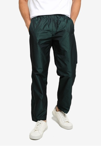 ck CALVIN KLEIN green POLY PANTS WITH LOGO INSERT AND SIDE ZIPS 711F5AAAEFB910GS_1