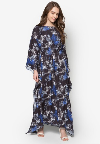 印花繫帶長袖連身裙, 服飾, zalora 心得服飾