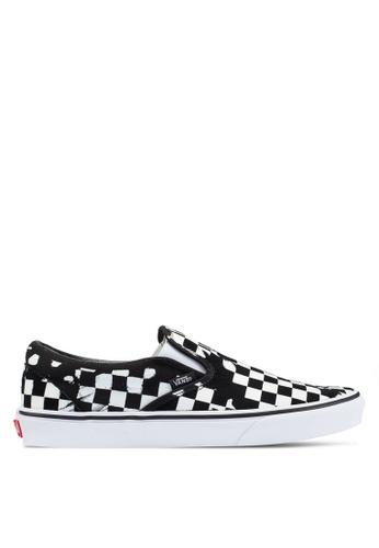 VANS black and white Overprint Check Slip-Ons 01AE7SHB2C5DAFGS_1