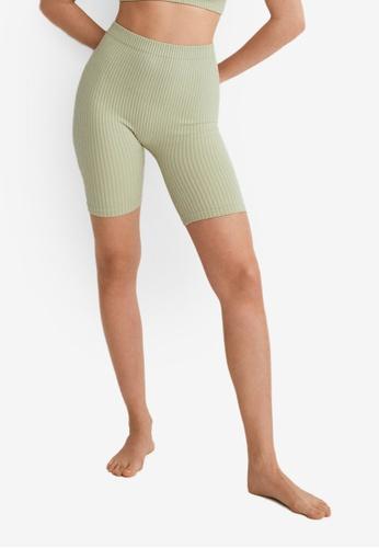 Mango green Ribbed Sports Leggings E3039AAF784B74GS_1