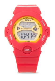 Sport Unisex Red Resin Strap Watch XJ-865-Red