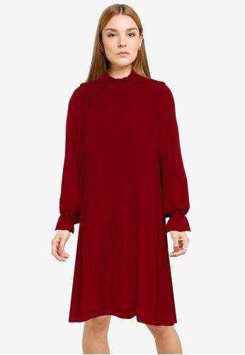 Vero Moda red Dorit Pleat Short Dress 66DC3AA39AD4A0GS_1