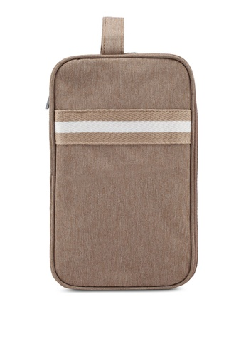 Bagstationz brown Strap Design Lightweight Water-Resistant Travel Toiletries Pouch 02794AC146179EGS_1