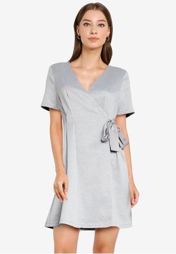 ZALORA WORK grey Fit & Flare Wrap Dress 6E0DAAA887E3D6GS_1