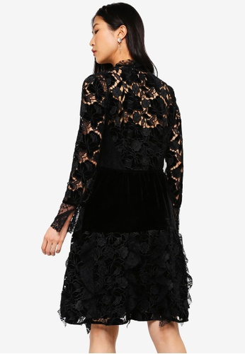 83a82491 Shop French Connection Cynthia Velvet Lace Mix Dress Online on ZALORA  Philippines