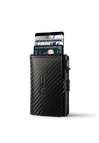 NIID black Carbon Pattern‧Genuine Leather‧Anti Scratch ‧RFID‧Leather Mini Wallet - Black 5B435AC80E987EGS_1