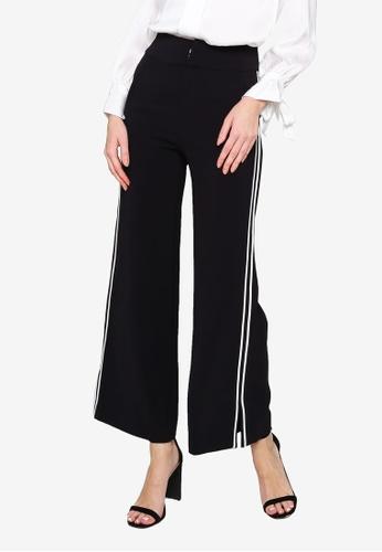 Hopeshow black Side Slit Wide Leg Long Pants 23FA4AA1B7CA90GS_1