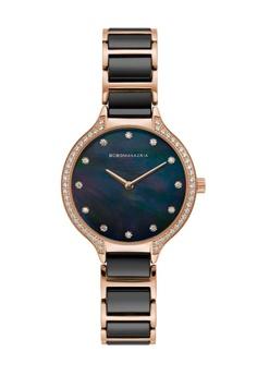 197fb9f33fe3 BCBG black BCBGMAXAZRIA Rose Gold and Black Watch 2428CACFB891F6GS 1 25% OFF  ...