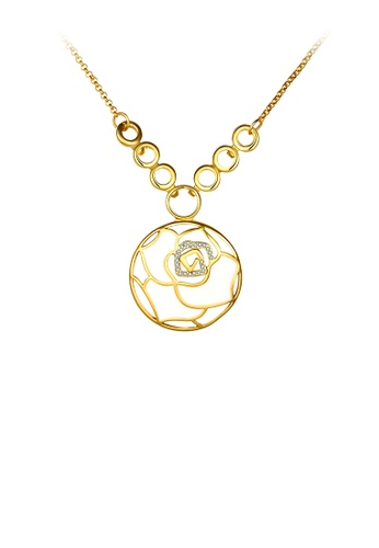 Glamorousky white Simple Gold Flower Pendant with Austrian Element Crystal and Necklace 4A3C5AC5AFF6F8GS_1