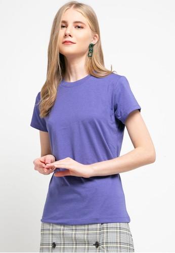 Tolliver purple Round Neck Basic Short Sleeve Tee 09B22AA56AC3DAGS_1