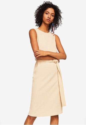 Mango beige Textured Bow Dress 74454AAF5168A5GS_1