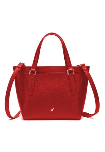ENZODESIGN red ENZODESIGN Saffiano Leather Top Zip Crossbody Bag 52200ACA6E0D22GS_1