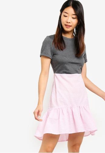 Something Borrowed grey Fluted Hem Mini Dress 832A0AA0AD4EF5GS_1