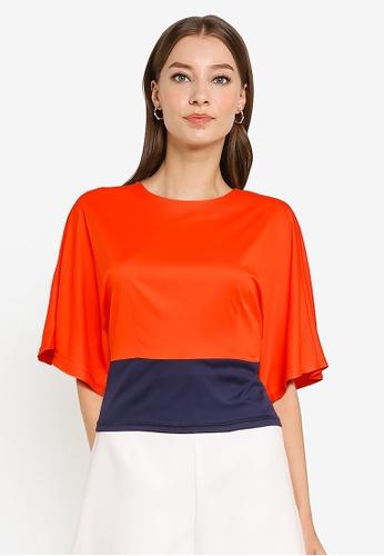 ZALORA WORK orange Colourblock Wide Sleeves Top 270F8AA81B5CEEGS_1