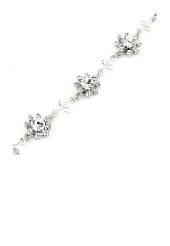 Glamorousky silver Wavy Flower Bracelet with Silver Austrian Element Crystals 84D87ACF52F5CFGS_1