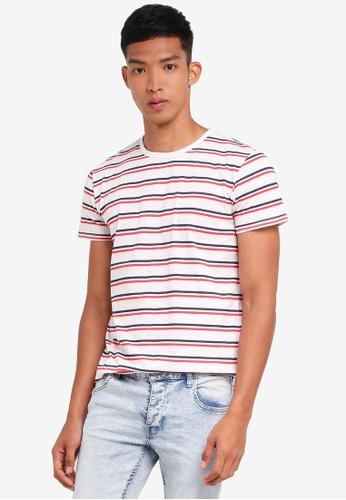 !Solid red Nigel Nautical Striped T-Shirt 2C584AA0330E26GS_1