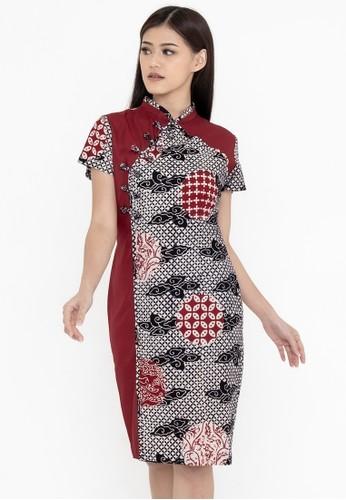 SAVI Batik red Batik Lily Qipao 36FE5AAD6FB261GS_1