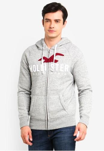 Hollister grey Iconic Logo Zip Hoodie CC4F7AAF3A3BA5GS_1