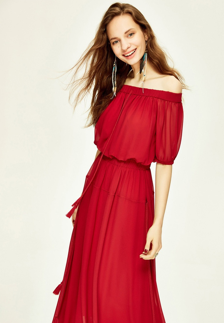 Hopeshow Off Shoulder Layered 2 Tassels Red Wine Dress with wganSqnx