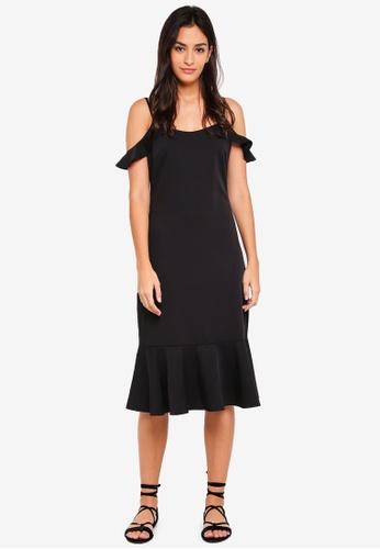 Something Borrowed black Fluted Hem Cold Shoulder Dress 04899AAF000871GS_1
