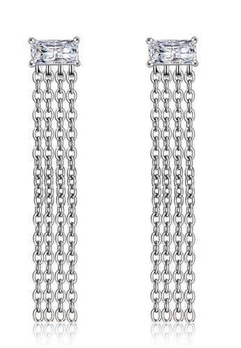 LYCKA silver LFF5226-LYCKA-S925 Siliver White Zircon Trendy Tassel Earrings-Silver 07B72ACCE7C581GS_1