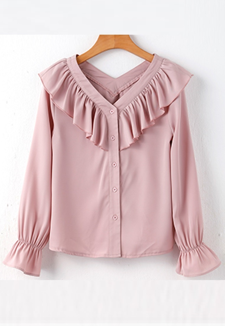 Halo OL Pink Blouse Long Ruffle Sleeves ZfqOwZ4H