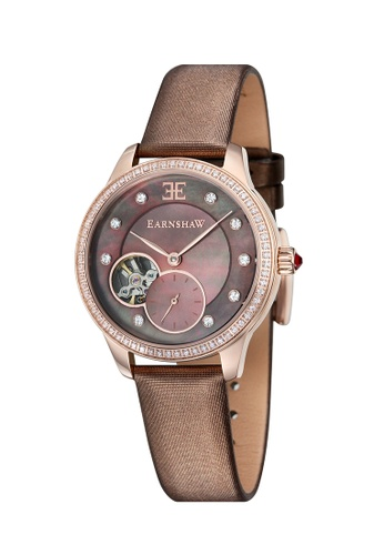 Thomas Earnshaw brown Thomas Earnshaw LADY AUSTRALIS ES-8029-04 Women's Brown Satin Strap Watch 1C4C6AC4BD64EFGS_1