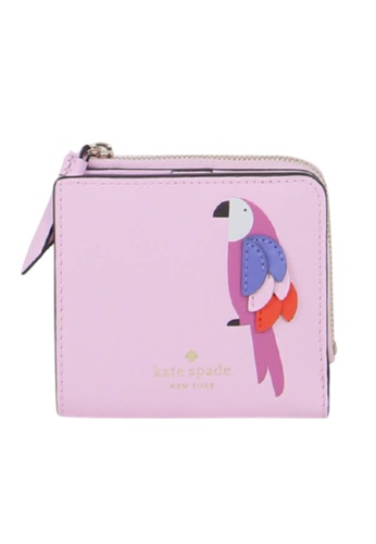 Kate Spade pink Kate Spade Small Flock Party WLRU6243 L-Zip Bifold Wallet In Pink Multi 63F1FAC264653AGS_1