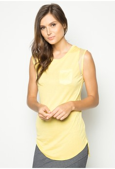 Sleeveless Top with Mesh Detail