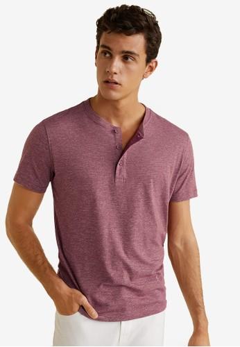 MANGO Man red Flecked Henley T-Shirt 3B7CCAA2EC91E2GS_1