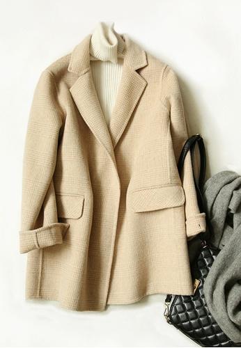 Twenty Eight Shoes beige VANSA Vintage Check Wool Double-faced Coat  VCW-C8023 55C35AA31803B5GS_1