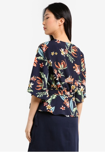 ZALORA multi and navy Printed Wrapped Top 8B408AAF8BF24EGS_1