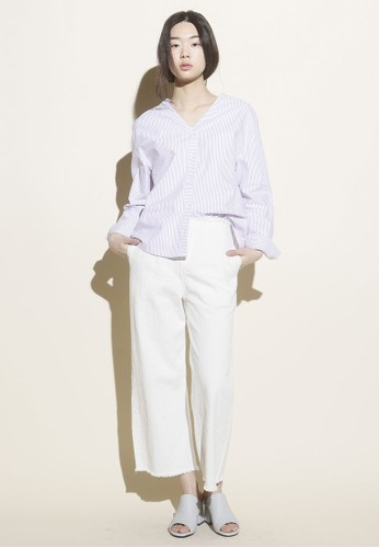 韓式風格V 領寬版長袖上衣, zalora鞋服飾, 上衣