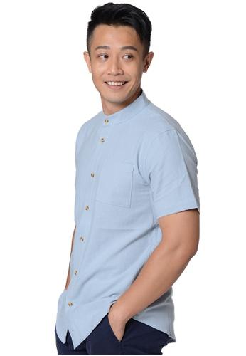 Praise blue Stand Collar Short Sleeves Shirt A200DAA464FAE2GS_1