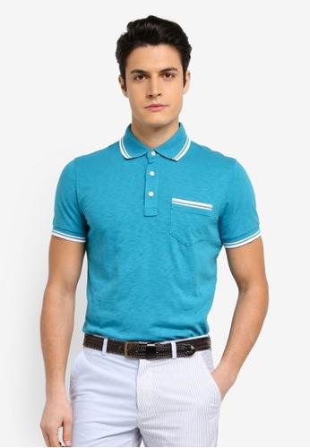 Brooks Brothers 藍色 撞色滾邊短袖POLO衫 BFBF4AA683DA3AGS_1