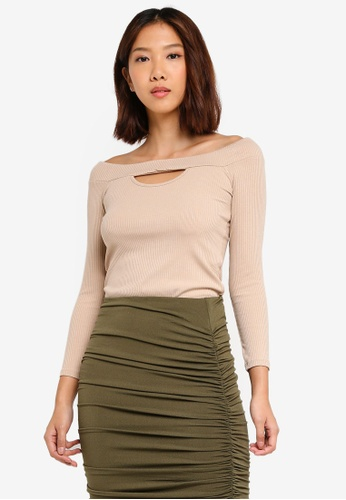 Supre brown Ava 3/4 Off The Shoulder Top CB430AAEF29D0DGS_1