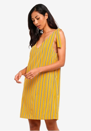 ZALORA BASICS yellow Basic Shoulder Tie Mini Dress A8732AA6797FAAGS_1