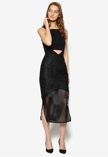 The Label - Freya Midaxi 印花薄紗拼接鏤空連身裙,esprit香港門市 服飾, 洋裝